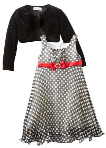 Bonnie Jean Little Girls Chiffon Dress with Stretch Velvet Cardigan