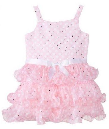 Bonnie Jean Little Girls Dot Chiffon Tiered Dress