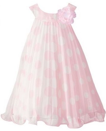 Bonnie Jean Little Girls Pink Chiffon Dot Crystal Pleat Dress