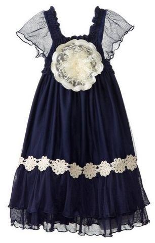 Elisabeth Little Girls Rosette Trim Chiffon Dress