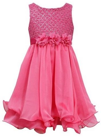 Little Girls 4-6X Fuchsia-Pink Sequin Flock Dot Wire Hem Yoryu Chiffon Dress