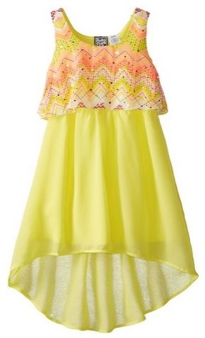 Pogo Club Little Girls Printed Chiffon Popover Dress