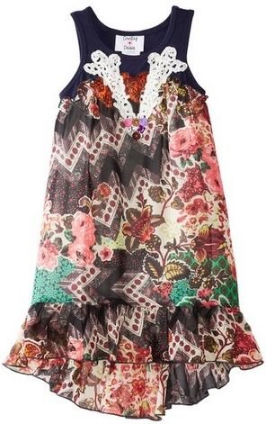 Rare Editions Little Girls Multi Color Chiffon Dress