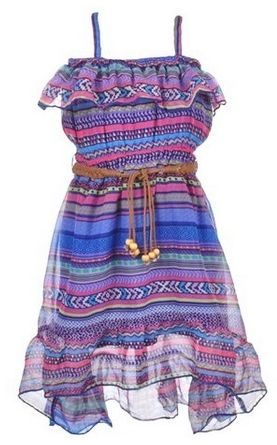 Star Ride Little Girls Cali Chiffon Belted Hi-Low Dress