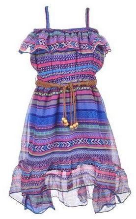 Star Ride Little Girls Cali Chiffon Belted Hi-Low Dress