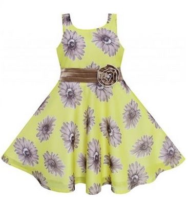 Sunny Fashion Little Girls Dress Yellow Elegant Floral Chiffon Silk
