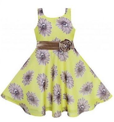 Sunny Fashion Little Girls Dress Yellow Elegant Floral Chiffon Silk