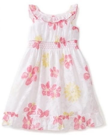 Youngland Little Girls Toddler Smocked Sleeveless Chiffon Dress