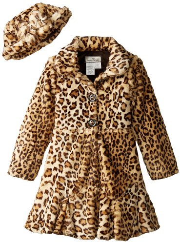 Big Girls' Twirly Bottom Leopard Print Coat with Hat