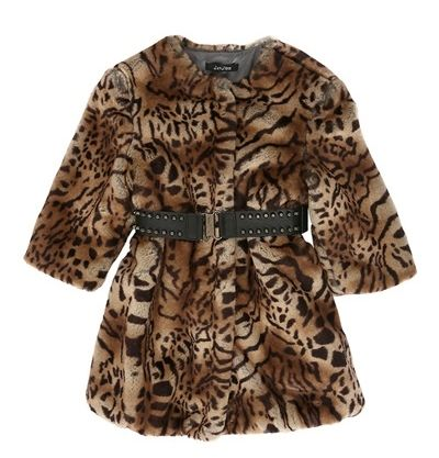 LEOPARD PRINTED FAUX FUR COAT for Big Girls