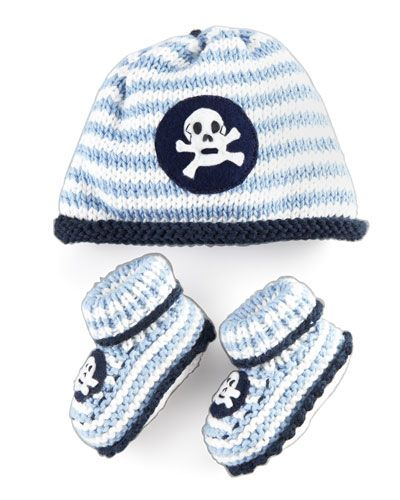 Striped Skull Hat and Bootie Set, Light Blue