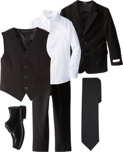 Black Suit and Tie + White Shirt for Boys