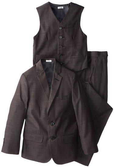 Calvin Klein Boys' Tick-Patterned Three-Piece Suit Set