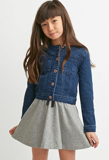 Girls Collarless Denim Jacket (Kids)