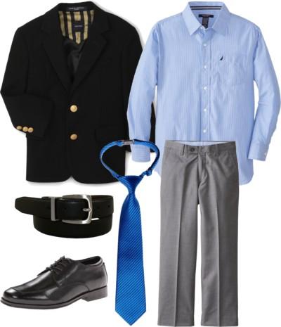 Navy Blazer + Herringbone Solid Pant for Big Boys