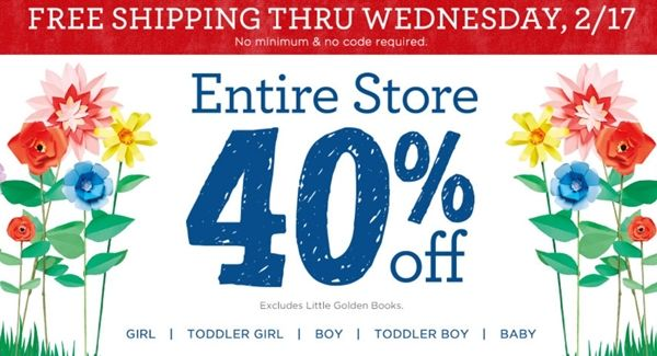 Last Minute Deal: 40% off Entire Site at Gymboree + Free Shipping