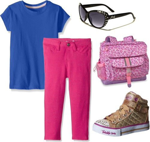 Blue Crew Tee + Light Pink Styled Pants for Big Girls