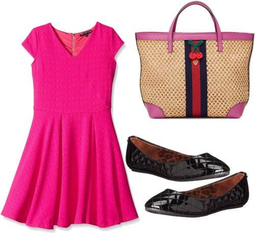 Pink Fit and Flare Dress for Big Girls