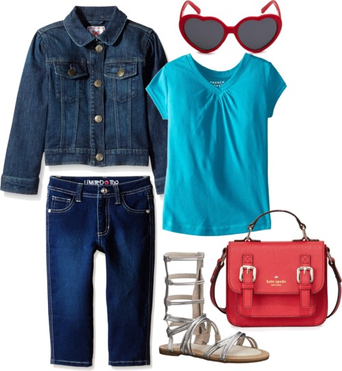 V-Neck Tee + Denim Capri Pants for Big Girls