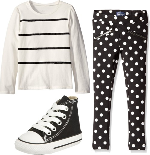 black and white Long Sleeve Ribbon Tee + Jeggings for Little Girls