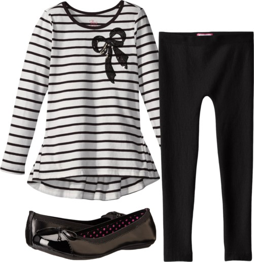 black and white Stripe Bow Tunic + leggings