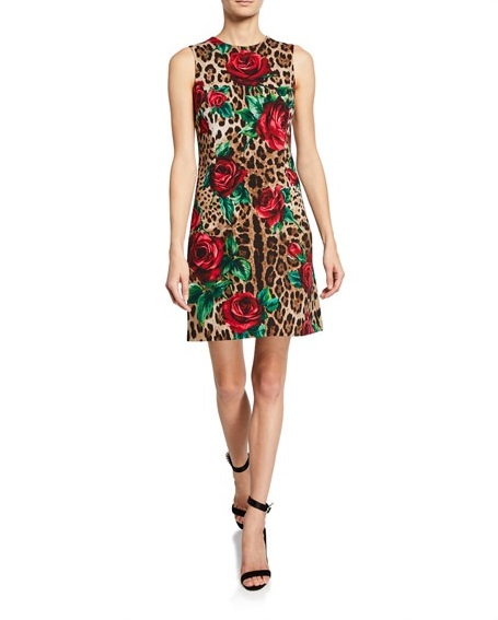 Dolce & GabbanaLeopard Print and Rose Sleeveless Dress