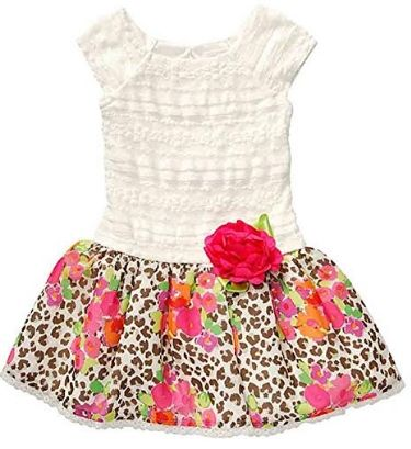 Drop Waist Cheetah Print Dress for Toddler Girl