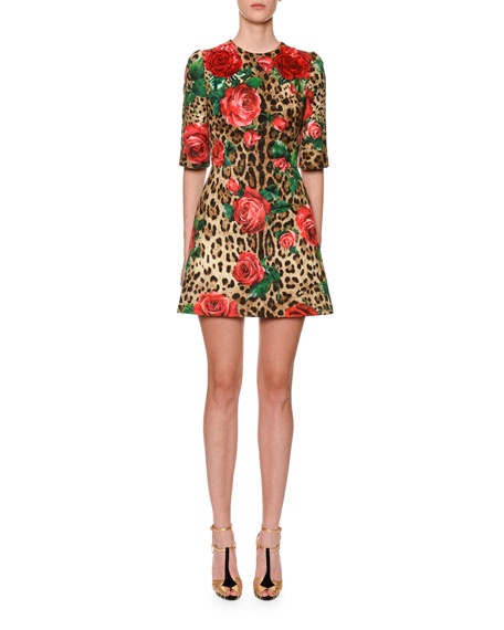 Dolce & Gabbana Half Sleeve Rose Leopard Brocade Dress for Women