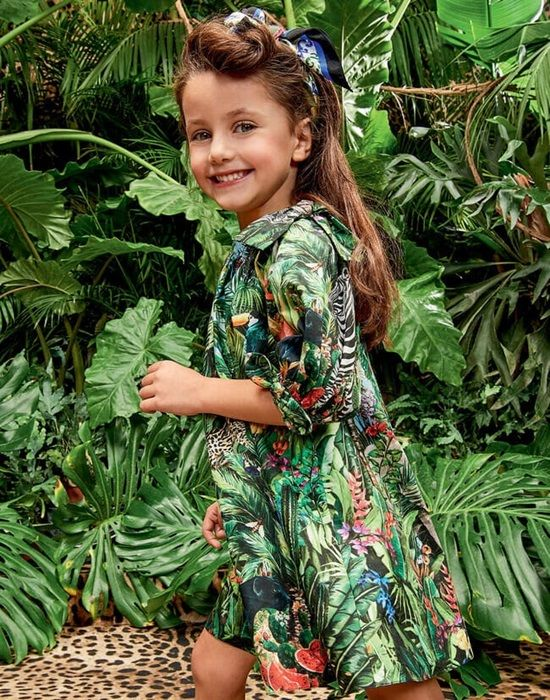 BAGGY DRESS IN POPLIN WITH JUNGLE PRINT FOR GIRLS