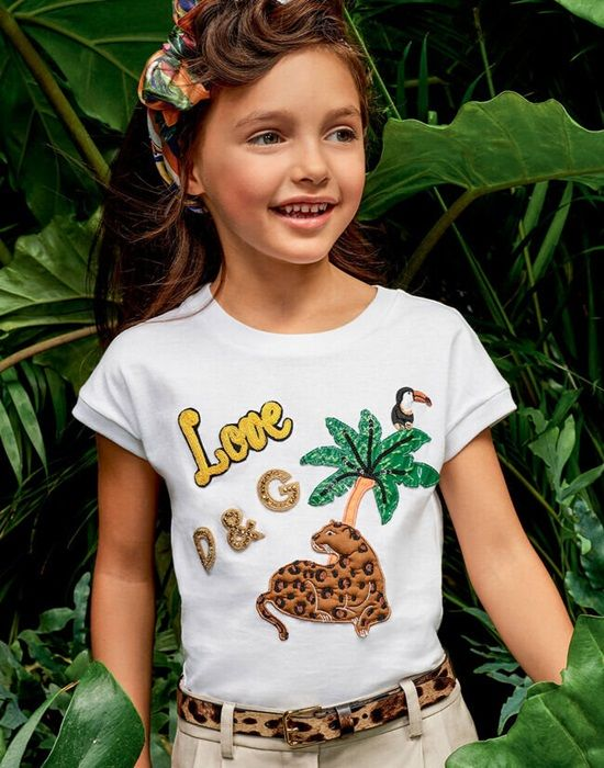 JERSEY T-SHIRT WITH TROPICAL ANIMAL PATCHES