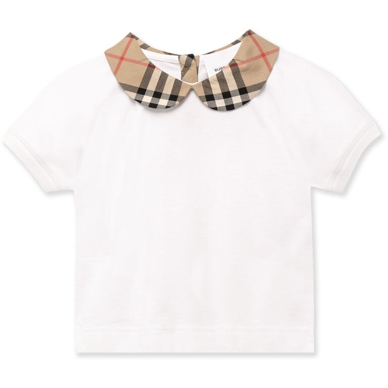 Burberry White Top with Check Collars