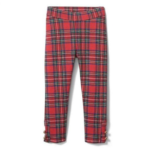 Plaid Ponte Button Cuff Pant