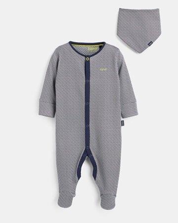 Cotton geo print bib and sleepsuit set